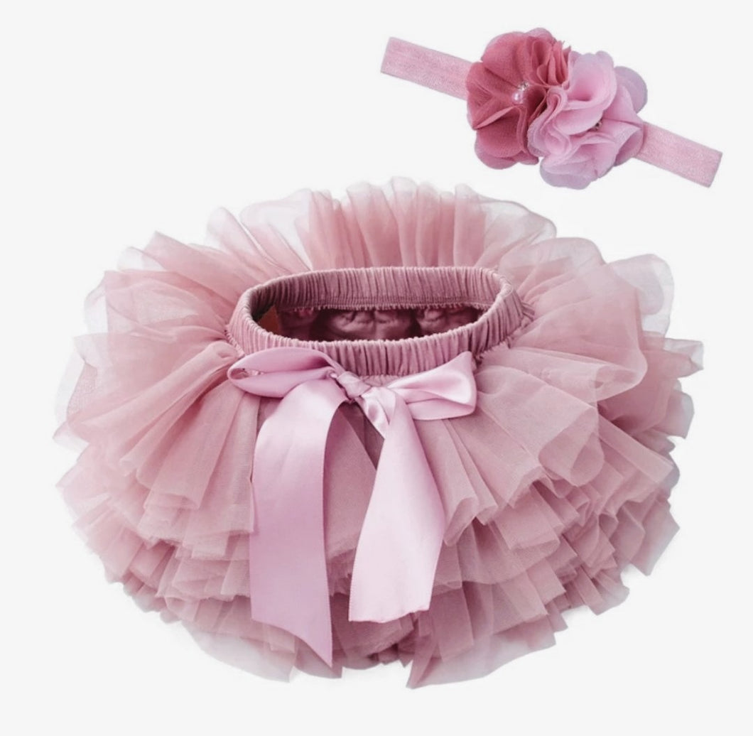 Vintage Pink Tutu Bloomer And Headband Set - Adassa Rose