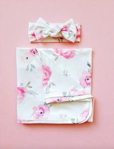 Coco Floral Swaddle Blanket And Headband Set - Adassa Rose