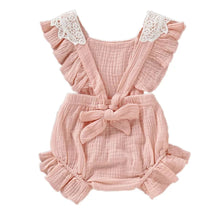Load image into Gallery viewer, Floral Lace Baby Girl Romper Peach - Adassa Rose