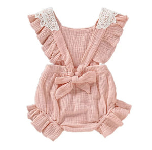 Floral Lace Baby Girl Romper Peach - Adassa Rose