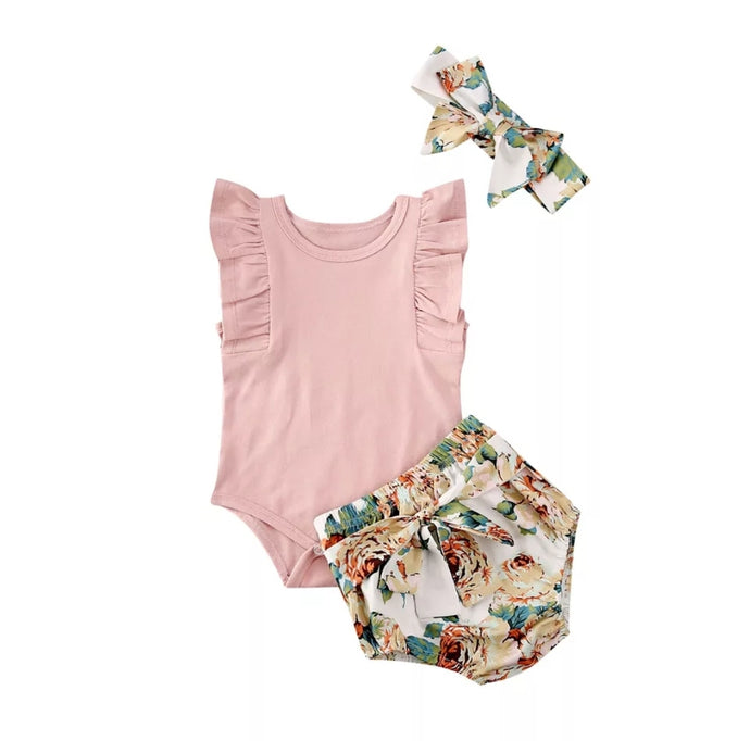 Stella Bodysuit And Floral Bloomer Set - Adassa Rose