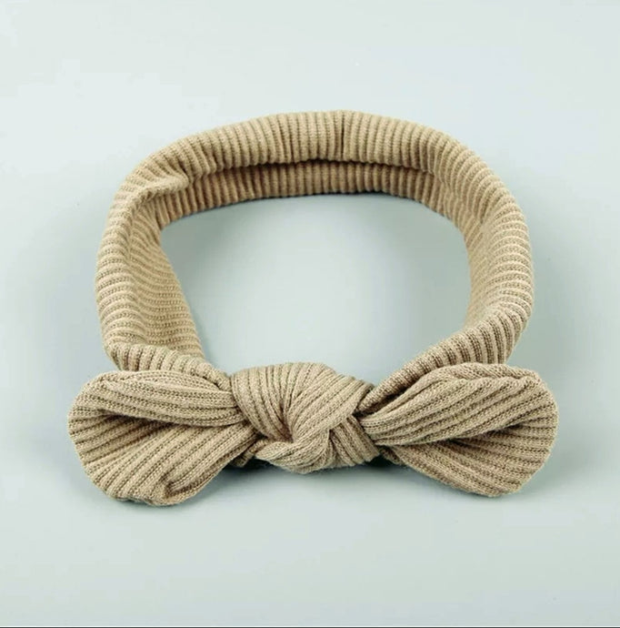Ribbed Top Knot Headband | Taupe - Adassa Rose