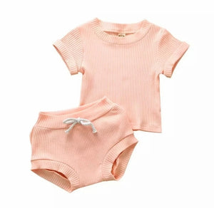 Moya Ribbed Top And Shorts Set For Baby Girl - Adassa Rose