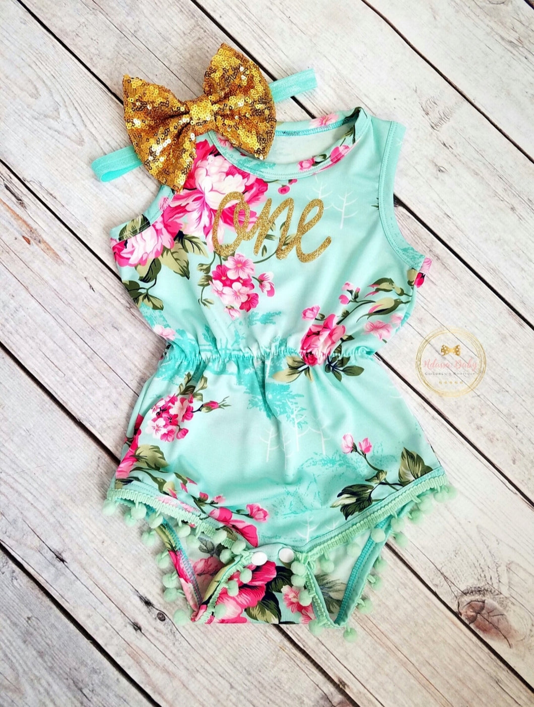 Mint Pink Gold Floral Pom Pom Romper First Birthday Outfit Girl - Adassa Rose