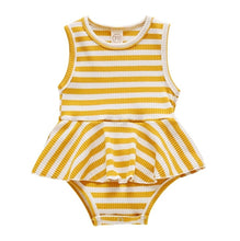 Load image into Gallery viewer, Payton Skirted Bodysuit Baby | Mustard Stripes - Adassa Rose