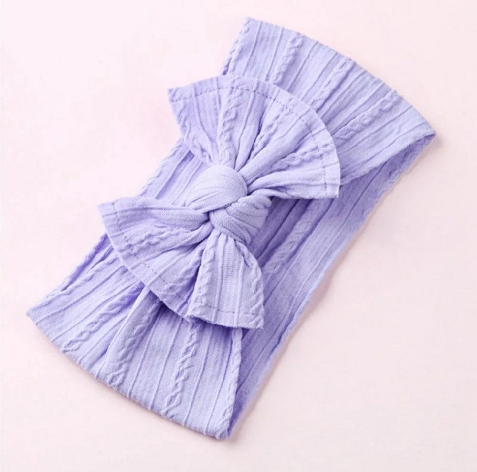 Mia Cable Knit Bow Headwrap [Lavender] - Adassa Rose