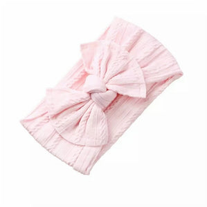 Mia Cable Knit Bow Headwrap | Pearl Pink