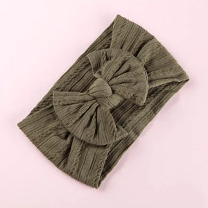 Lara Cable Knit Bow Headband - Olive