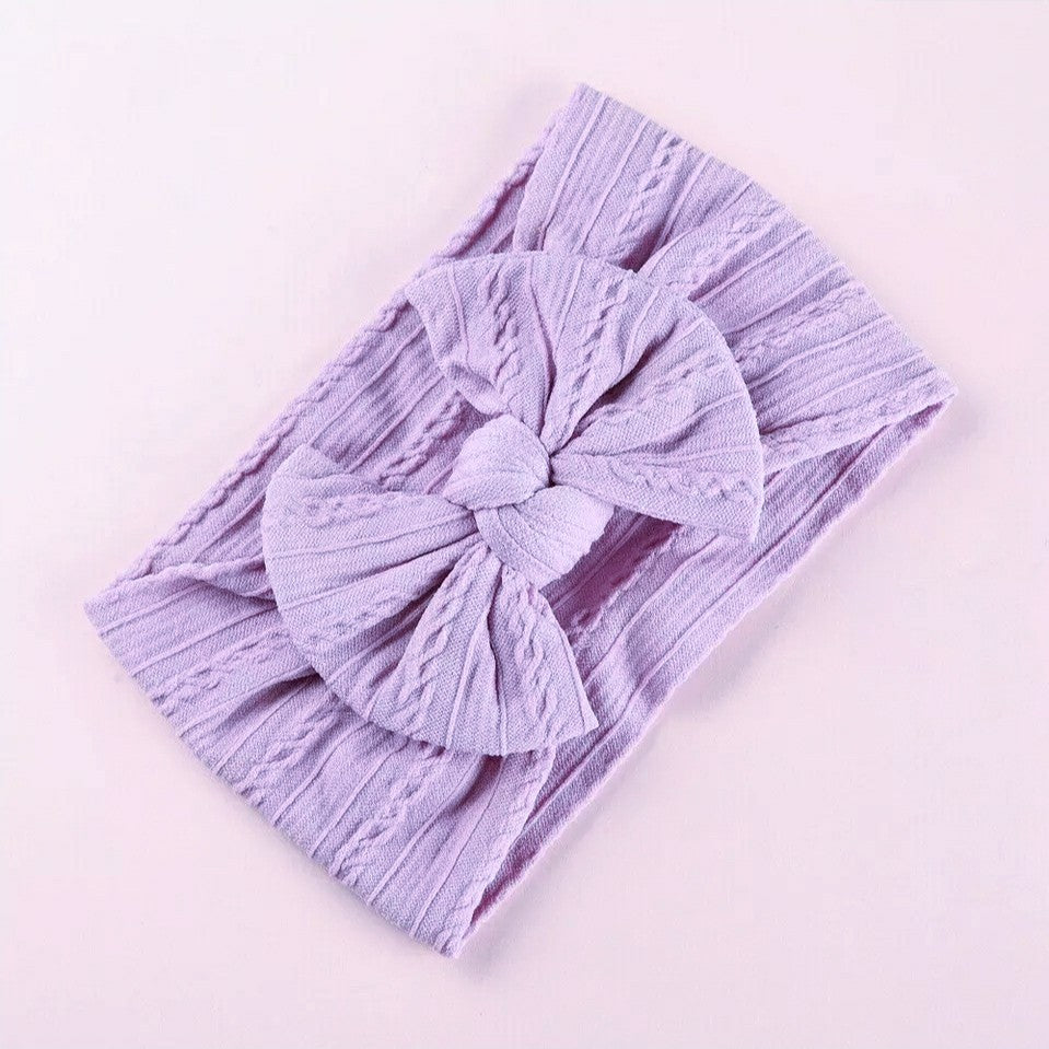 Lara Cable Knit Bow Headband - Lavender