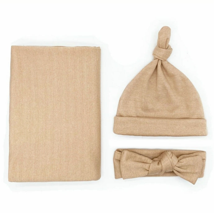Hayden Knit Swaddle Blanket In Almond Baby Blanket