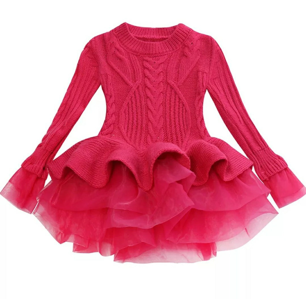 Rose Pink Tutu Sweater Dress