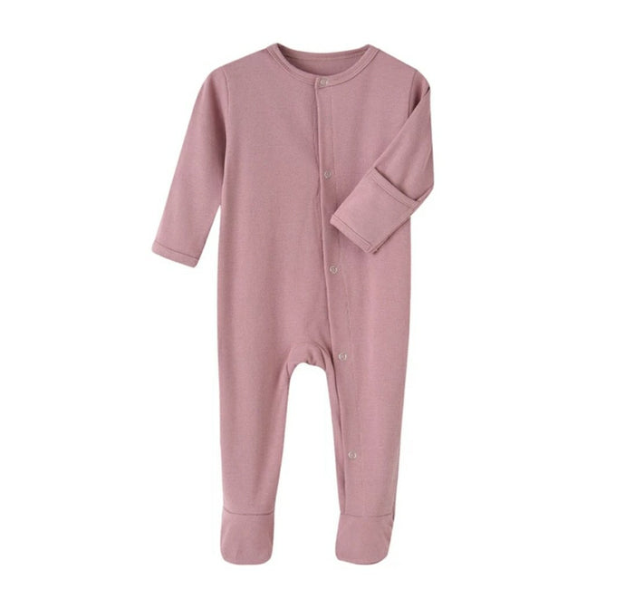 Baby Girl Mauve Ribbed Footed Romper One-Piece