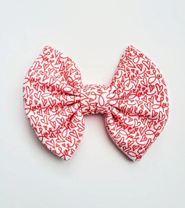 Love And Hearts Bow Or Headband Valentine's Day Bow