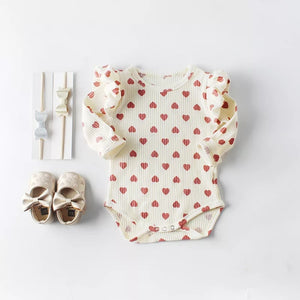 Ruffled Hearts Bodysuit | Cream