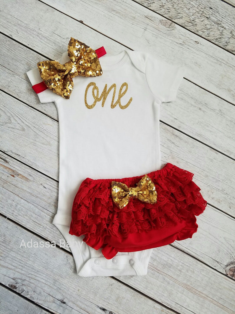 First Birthday Outfit Girl Red And Gold - Adassa Rose