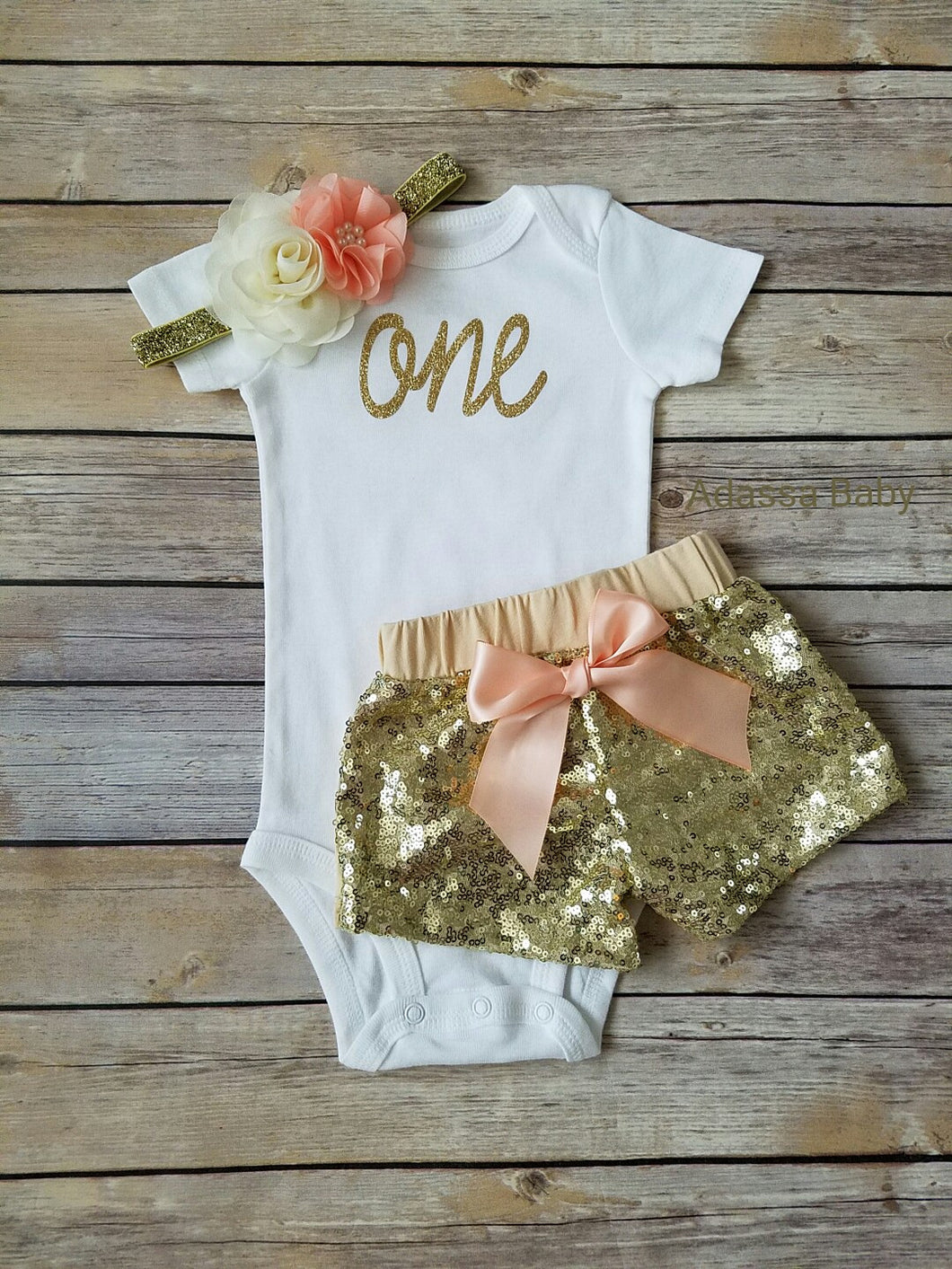 First Birthday Outfit Girl Peach And Gold - Adassa Rose
