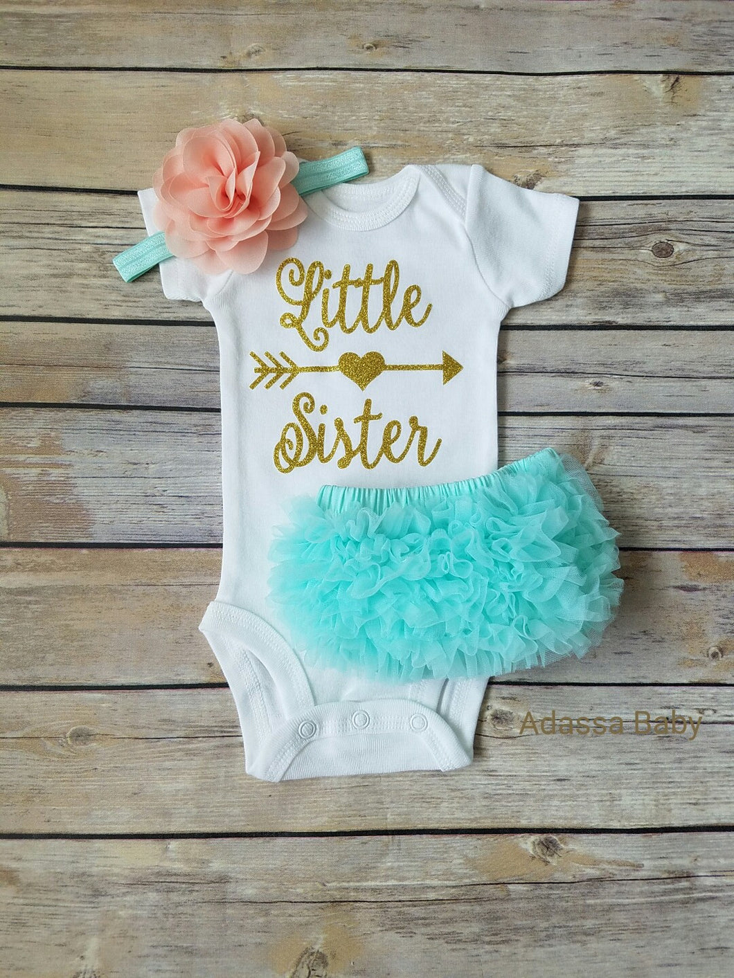 Little Sister Peach Mint And Gold Outfit Take Home Outfit Girl - Adassa Rose