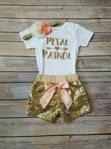 Petal Patrol Outfit Peach And Gold Flower Girl Rehearsal Outfit - Adassa Rose