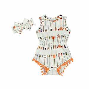 Peach And Cream Pom Pom Romper And Headband Set - Adassa Rose