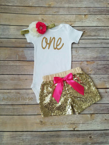 Hot Pink And Gold First Birthday Outfit - Adassa Rose