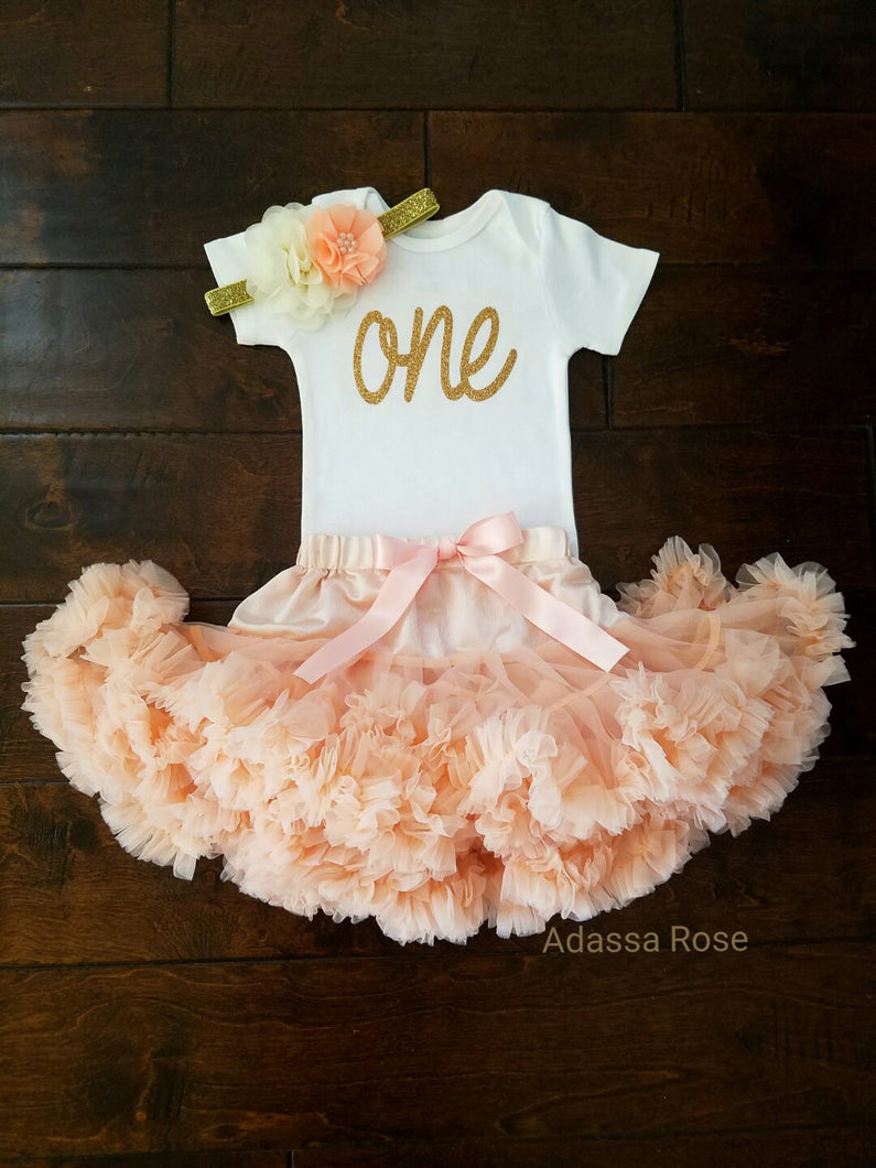 Peach And Gold First Birthday Outfit - Adassa Rose