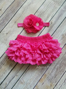 Hot Pink Bloomer And Headband Set Newborn Photo Prop Girls cake Smash Outfit Girls - Adassa Rose