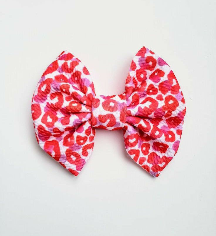 Pink And Red Cheetah Bow Clip Or Headband Valentine's Day Bow