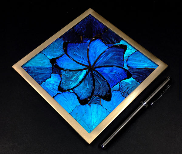 KAHMAMA Blue 1874 Charybdis Interior Panel - blue butterfly wing marquetry tile