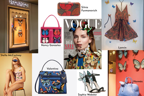 Across all luxury brands butterflies are currently used as a main motif. Examples of Hermès, Valentino, Stella McCartney, Lanvin, Dior and Vogue