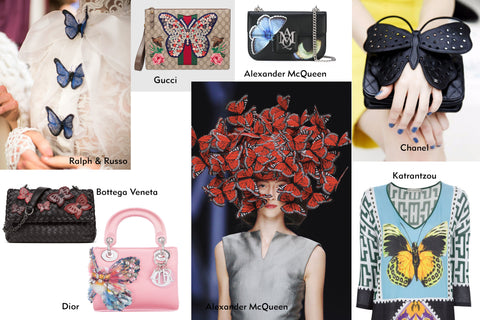 Haute Couture inspired by butterflies. Examples of Ralph&Russo, Bottega Veneta, Alexander McQueen, Gucci, Chanel, Sophia Webster and Katrantzou