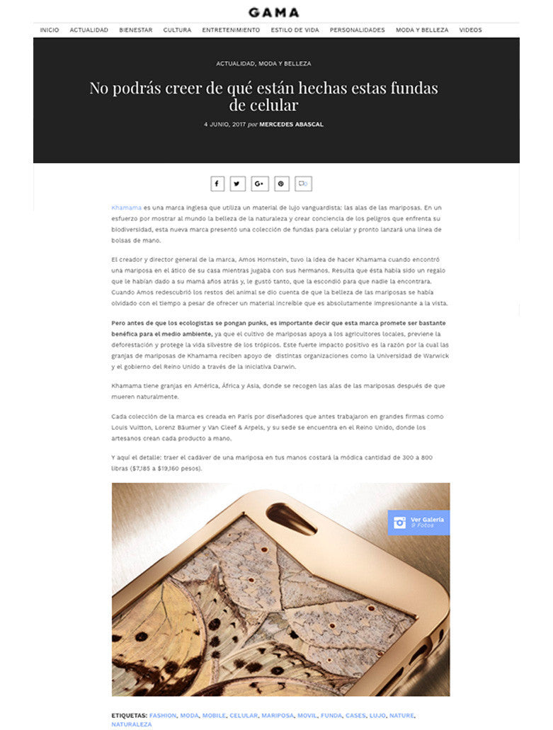 Spanisch press article about the luxury iPhone cases made by KHAMAMA. The article was published in the GAMA online magazine.