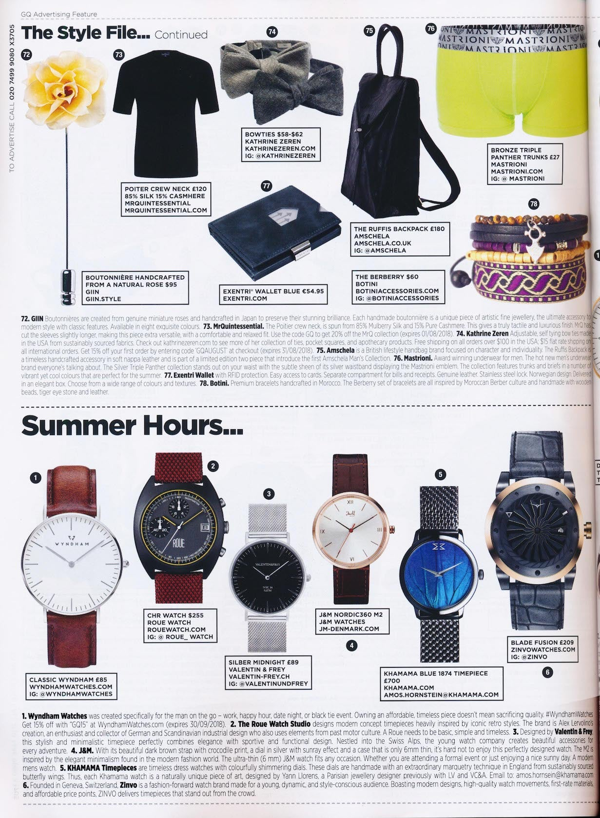 KHAMAMA Timepiece 1874 featured in British GQ August 2018 - Gentleman's Quarterly. KHAMAMA Timepieces are timeless dress watches with colourfully shimmering dials. These dials are handmade with an extraordinary marquetry technique in England from sustainably sourced butterfly wings. Thus, each KHAMAMA watch is a naturally unique piece of art, designed by Yann Llorens, a Parisian jewellery designer previously with LV and VC&A. Email to: Amos.hornstein@khamama.com