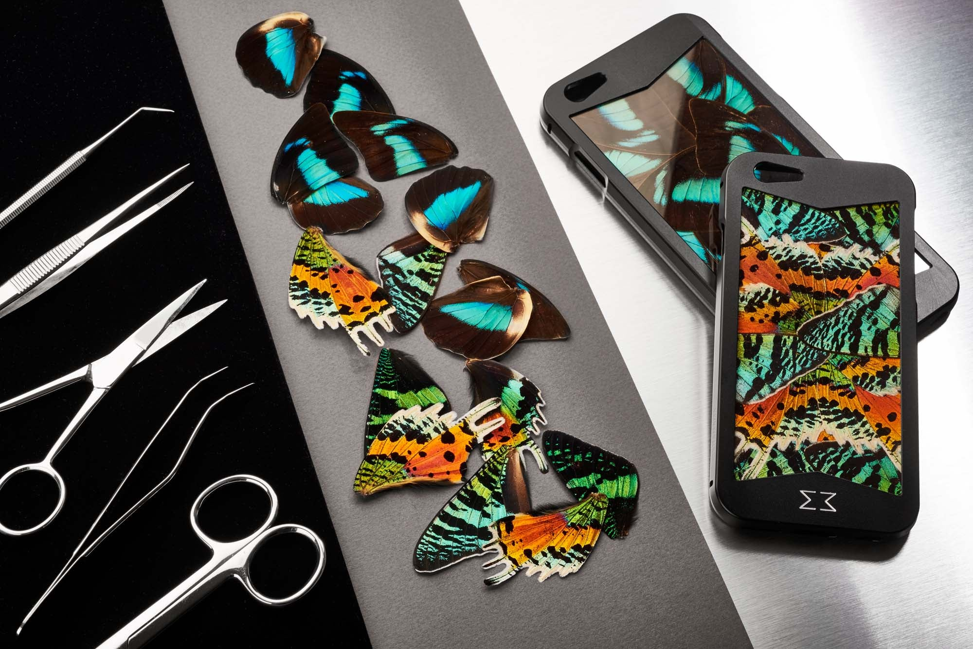 KHAMAMA's art of real butterfly wing setting. Rare and exclusive butterfly marquetry craft