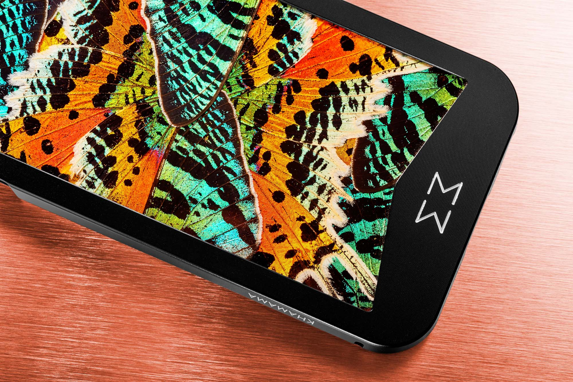 KHAMAMA PSYCHEDELIC 1773 luxury iPhone case inspired by the contrast between colourful real butterfly wings and modern design