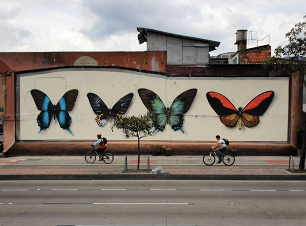 Wall painted at a street in Bogota, Colombia in March 2016 by Mantra.