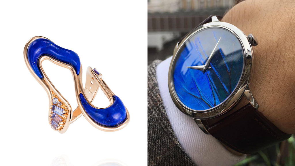 "KHAMAMA Blue 1874 Timepiece & Fernando Jorge's Stream Ring  Fernando Jorge's ""Stream Long Ring"" is the perfect  cocktail ring to combine with our iridescent blue KHAMAMA 1874 watch gold-edition. The ring is made our of 18k rose gold and contrasted by both tanzanites and lapis lazuli. The brightly blue and sparkling tanzanites resemble the bright iridescence of the Haute Art de Papillon of the KHAMAMA watch dial. Whilst, the dominating and fluidly shaped, dark-blue lapis lazuli are resembling the darkest of blues visible on the watch dial. The perfect combination to wear at a thrilling pool cocktail party in Bel Air... just make sure the pool is coloured in dark blue and not bright turquoise!    (KHAMAMA Blue 1874 Timepiece gold-edition: 350 GBP, Fernando Jorge Stream Ring, Price on request)"