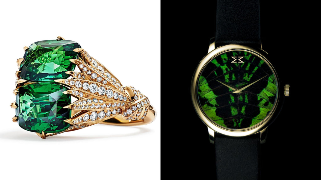 KHAMAMA Green 1773 Timepiece & Tiffany's Blue Book tsavorite ring  The magic of the KHAMAMA Green 1773 timepiece gold-edition is matched by Tiffany's newest cocktail ring published in Tiffany's Blue Book 2017. Uncommonly with two sparkling green tsavorite center stones, the cocktail ring seems to pick up on the book matched pattern of the watch dial - perfect symmetry is everything! The center stones are mounted in an exotic structure of 18ct yellow gold and sparkling diamonds. The perfect combination for a cocktail party hosted in an Victorian-styled greenhouse of an orchid collector.  (KHAMAMA Green 1773 Timepiece gold-edition, £350; Tiffany's Blue Book tsavorite ring, price on request)