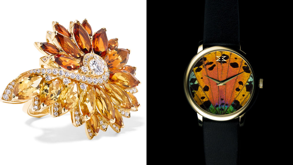 KHAMAMA Psychedelic 1773 Timepiece & Stephen Webster Magnipheasant Feathers ring  What could suit better to the English KHAMAMA Psychedelic 1773 watch as the 'Magnipheasant' ring of British jewellery designer Stephen Webster. He explains that the extraordinary design of this collection is aimed to capture the iridescence of pheasant feathers through using different shades of sparkling yellow/golden citrine. This fascinating golden shades and shimmers can be found again within the natural shine of the psychedelic butterfly wings within the watch dial.   (KHAMAMA Psychedelic 1773 Timepiece gold-edition, £350; Magnipheasant Feathers 18-karat gold, citrine and diamond ring, £16,300)