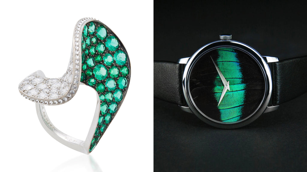 KHAMAMA Turquoise 1758 Timepiece & REZA Spirale Emerald Ring  This cocktail ring designed and made in France by REZA, captures opulent high jewellery within a timeless and almost modest magical design. The rings main feature is a uniquely shaped spiral construction mounted with one-hundred and six brilliant cut white diamonds and fourty-two lavish round brilliant cut emeralds into 18K rhodium plated white gold. The impression of the ring keeps changing from each perspective appearing to emphasise either the diamonds or the brightly coloured emeralds. Wearing this ring suits perfectly to the greenish shining KHAMAMA Turquoise 1758 - creating a look with is fascinating from each single perspective...  (KHAMAMA Turquoise 1758 Timepiece, £250; REZA Spirale Emerald Ring, £32,604)
