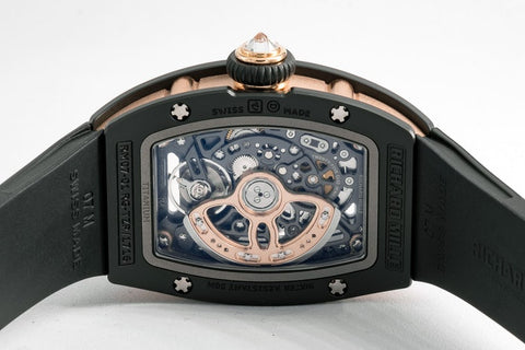 The Richard Mille RM 07-01 In Gem-Set Black Ceramic - Watch Back of Case with movement