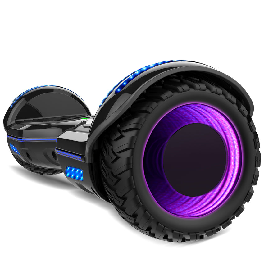 Gyrocopters 8FINITI All Terrain Hoverboard - UL2272 certified with Mirror LED Wheels - Black