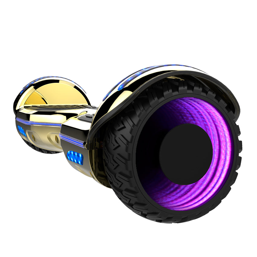 Gyrocopters 8FINITI All Terrain Hoverboard with Mirror LED Wheels, APP, Carry Case, Bluetooth, No Fall Technology and UL2272 Certified – Chrome Gold (New Version)
