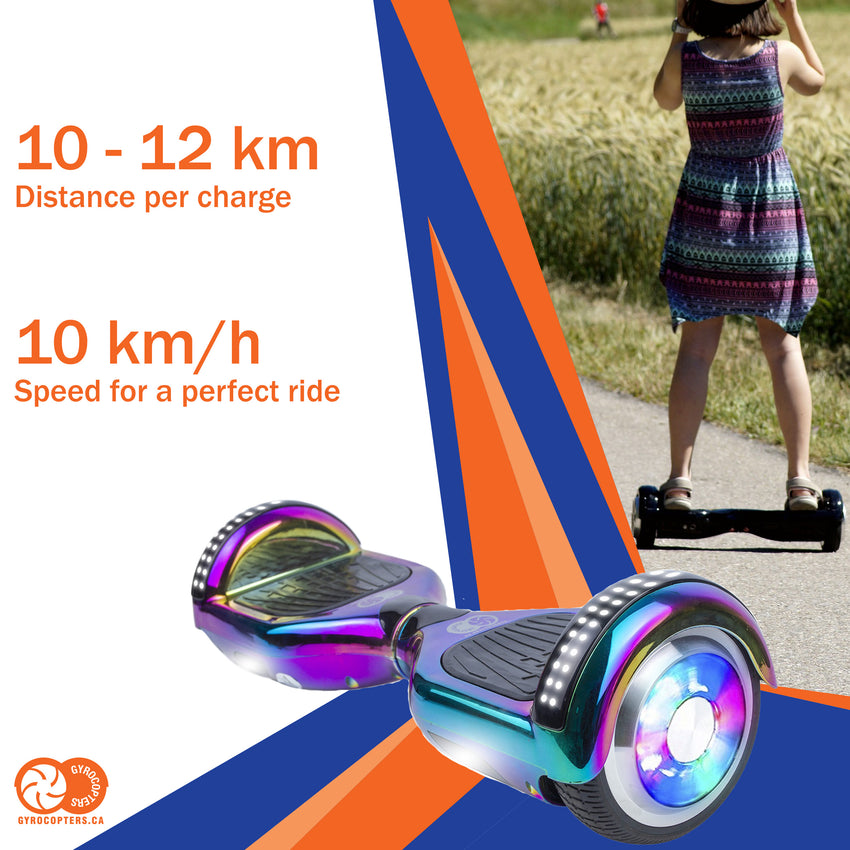 Re-Certified Gyrocopters PRO 4.0 Hoverboards - UL 2272 Certified with Bluetooth, LED wheels, APP,  No Fall Technology, Top and Front lights