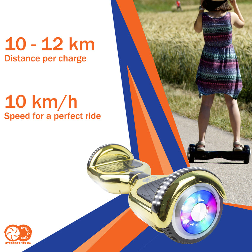 Gyrocopters Hoverboard with bluetooth speaker, hoverboard with led lights, cheap hoverboard with bluetooth, cheap hoverboard in toronto, safe hoverboard, Gyrocopters Pro 4.0 hoverboard, best hoverboards in Canada, hoverboard with app, chrome gold hoverboard, gold hoverboard