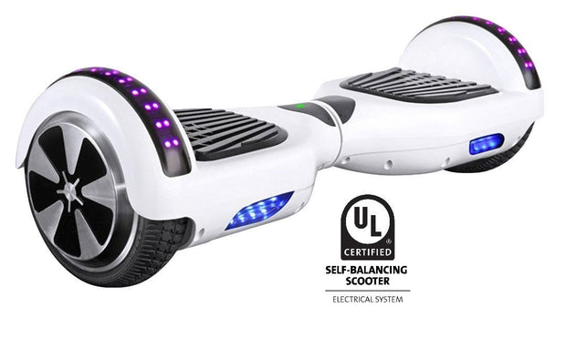 UL 2272 Certified Hoverboard with Bluetooth and LED lights (White)