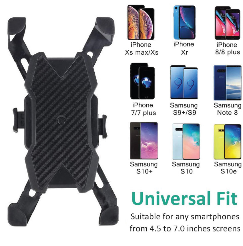 phone holder, phone case, scooter phone holder, plastic phone holder, cell phone holder, phone holder for electric scooter, portable phone holder, scooter phone attachment, easy to use phone holder, bike handlebar attachment, phone holder for handlebar