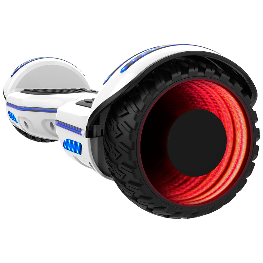 Gyrocopters 8FINITI All Terrain Hoverboard - UL2272 certified with Mirror LED Wheels - White