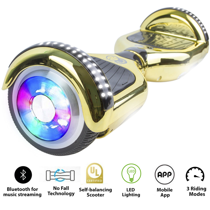 Gyrocopters PRO 4.0 Hoverboard - UL 2272 Certified with Bluetooth, LED wheels, APP,  No Fall Technology, Top and Front lights (Chrome Gold)