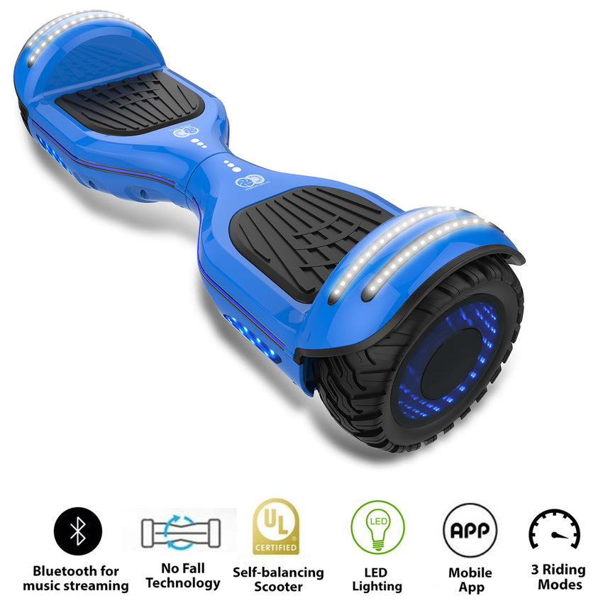 Gyrocopters 8FINITI All Terrain Hoverboard with Mirror LED Wheels, APP, Carry Case, Bluetooth, No Fall Technology and UL2272 Certified – Blue (New Version)