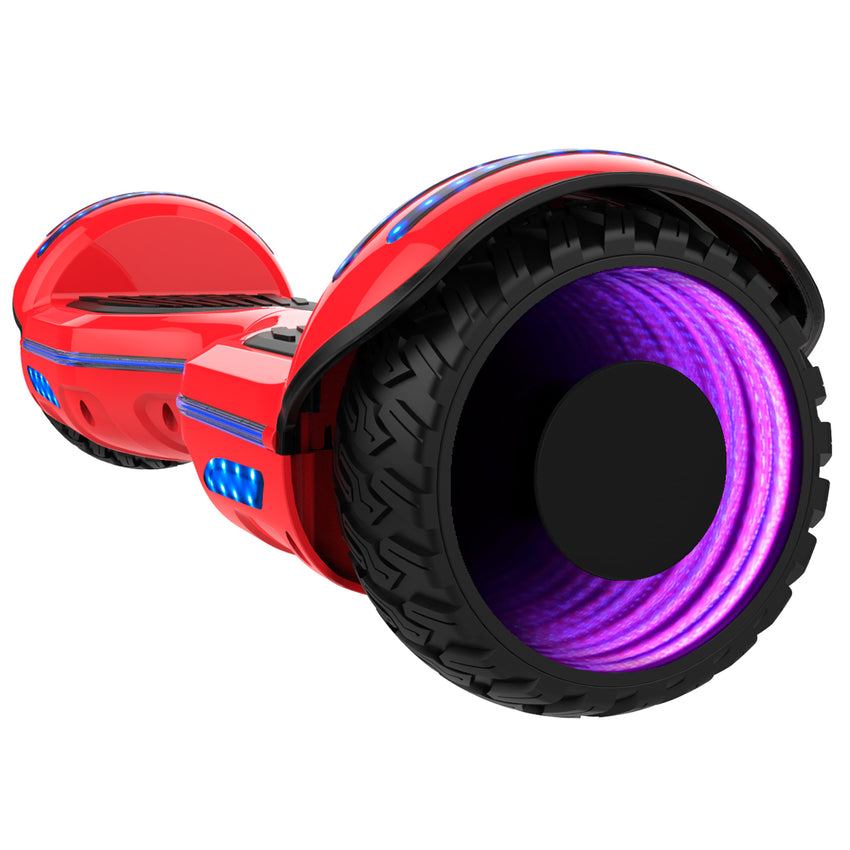 Gyrocopters 8FINITI All Terrain Hoverboard with Mirror LED Wheels, APP, Carry Case, Bluetooth, No Fall Technology and UL2272 Certified – Red (New Version)